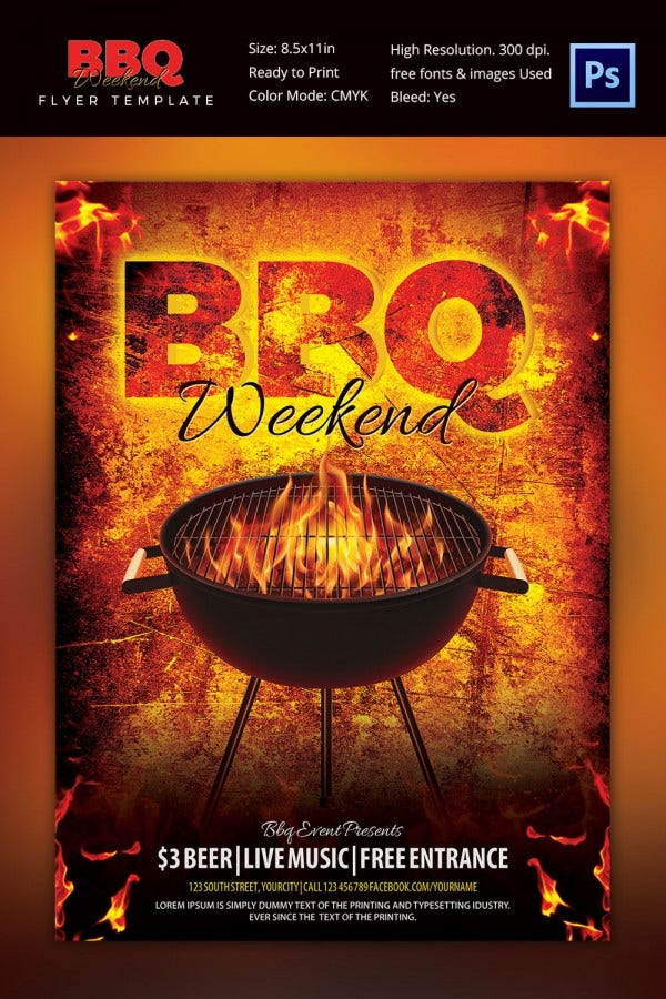 BBQ Weekend Summer Party Flyer Template