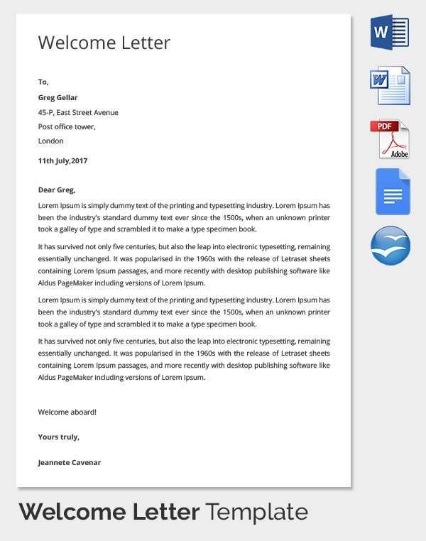 Sample HR Welcome Letter Template Download