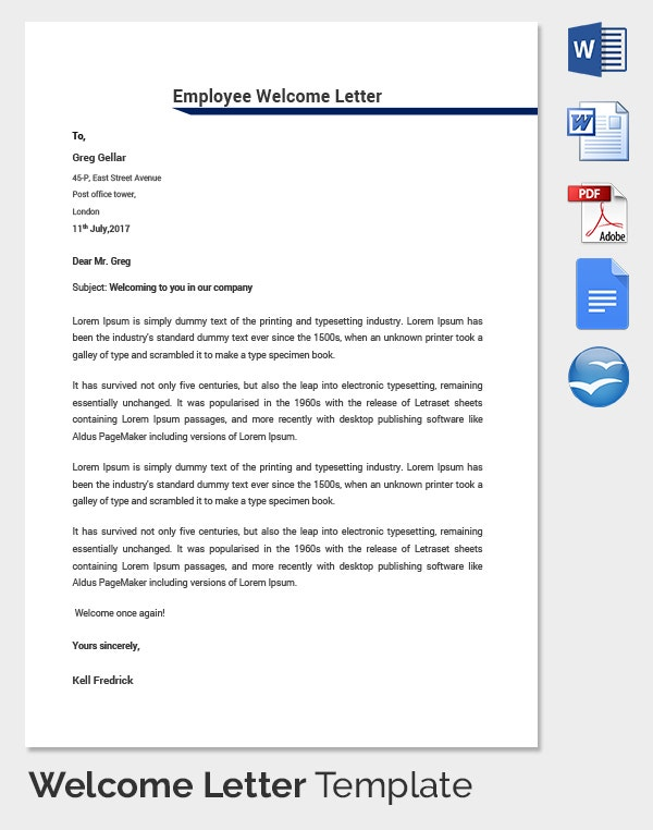 HR Welcome Letter Template Employee