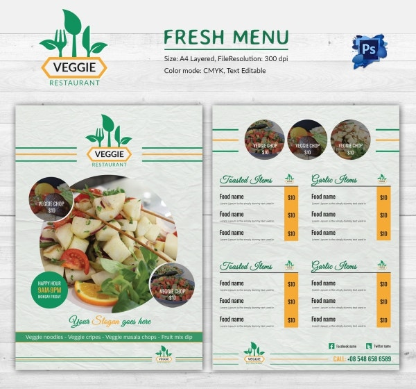 Colorful Fresh Food Menu Template Download