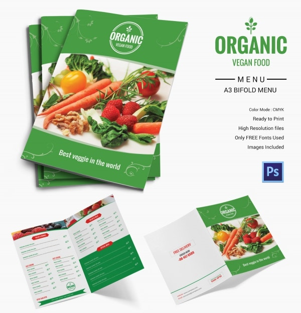 Organic Food Menu Bi-fold Template