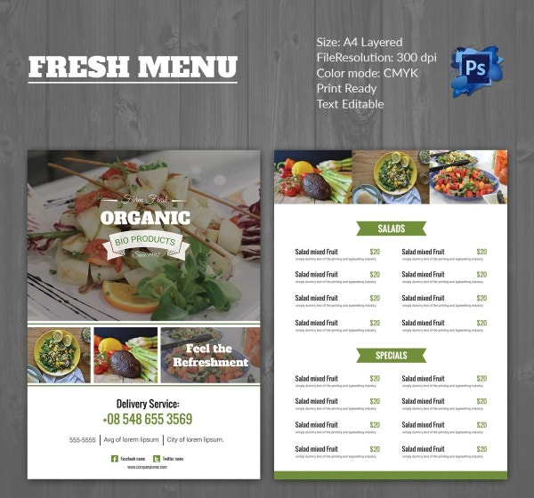 Fresh Pure Vegetarian Food Menu Template