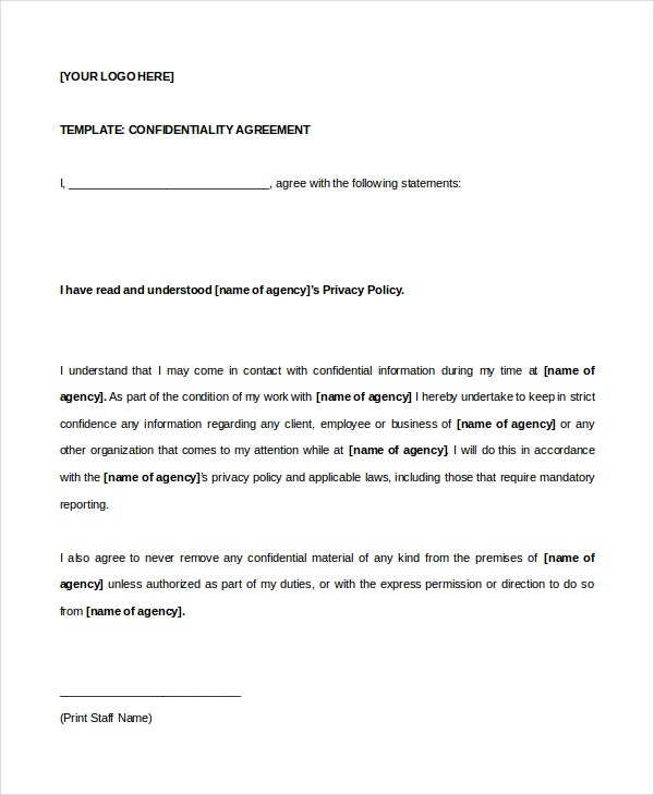 Celebrity confidentiality agreement 7 free word pdf for Privacy contract template