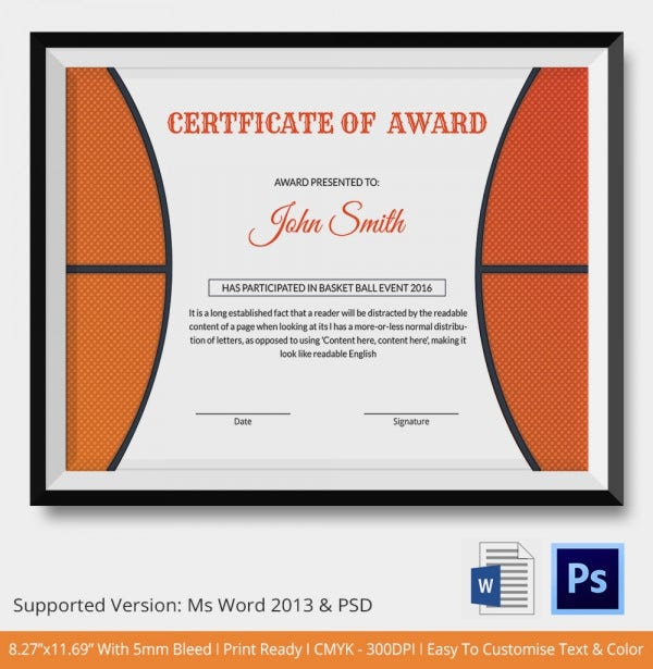 Basketball certificate template 14 free word pdf psd for Basketball mvp certificate template
