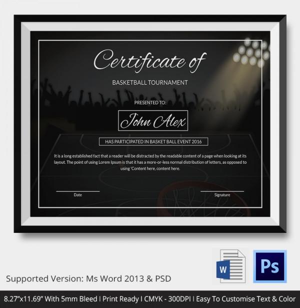 Basketball Tournament Certificate