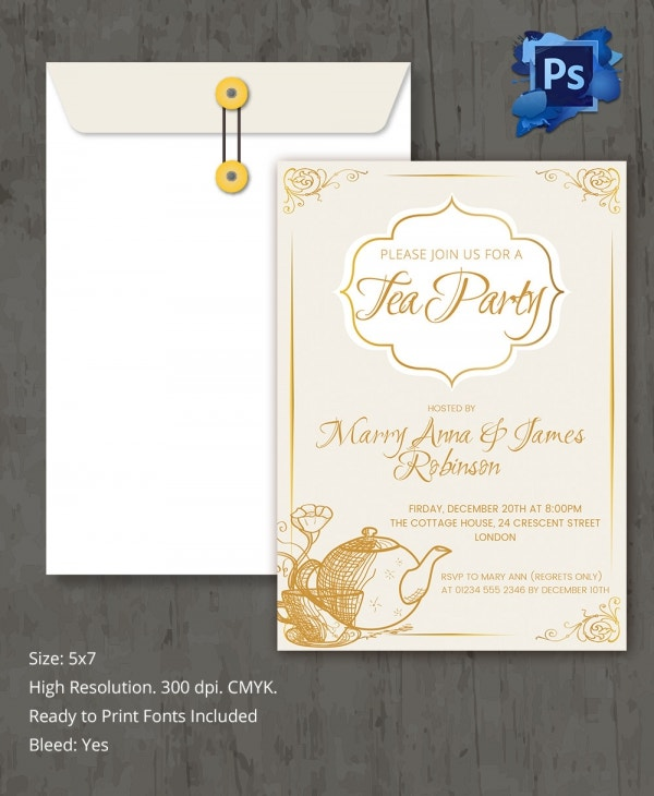 simple tea party invitation template3