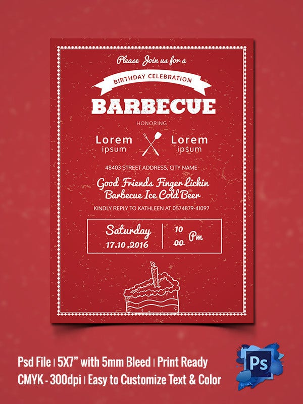 Birthday Celebration BBQ Invitation Template