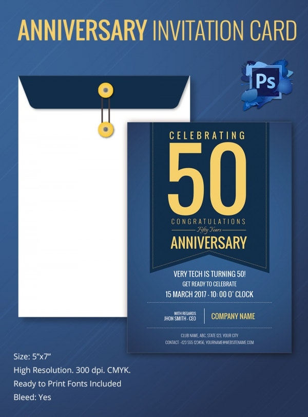 PSD Anniversary Invitation Card Template