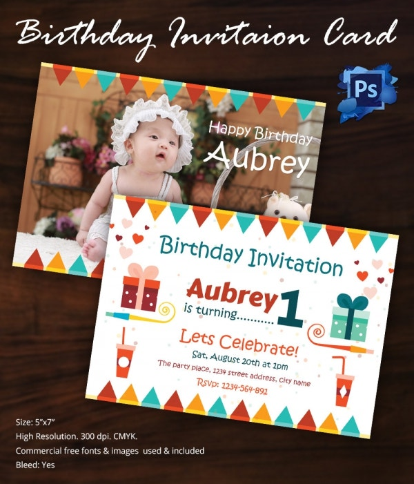 first birthday invitation card template