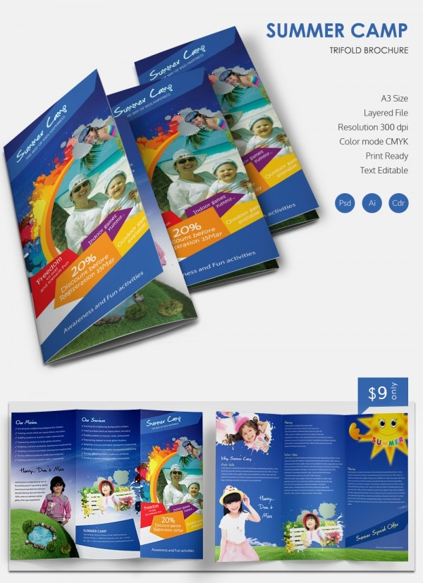 Amazing Camp Brochure Templates Free Premium Templates - Tri fold school brochure template