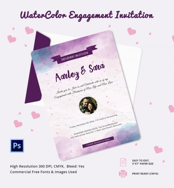 Watercolor Engagement Invitation Template