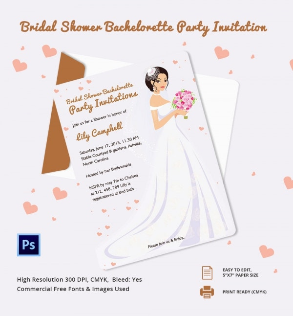 bridal shower bachelorette party invitation template