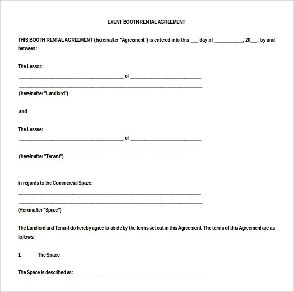 Booth Rental Agreement 9 Free Word PDF Documents Download – Event Agreement Template