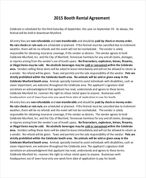 2015 Booth Rental Agreement PDF Free Download