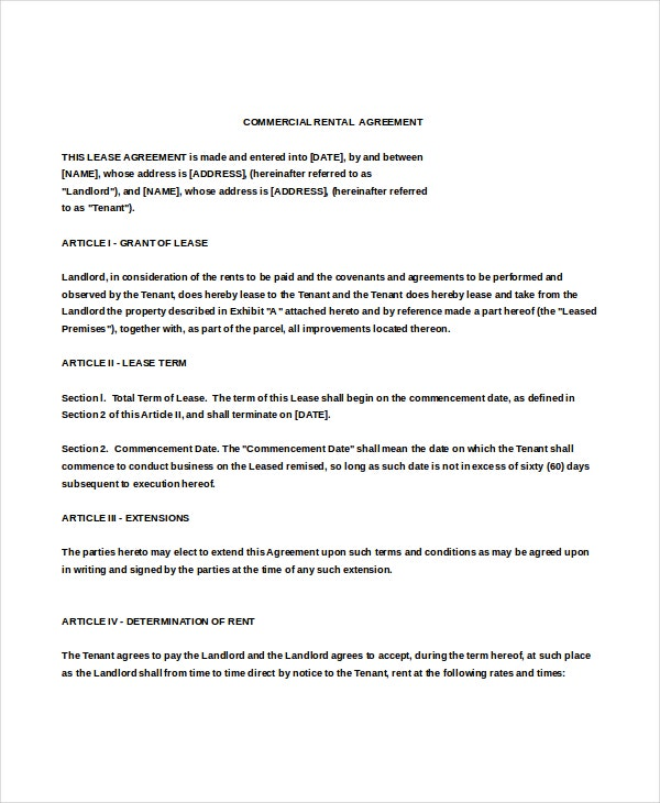 enterprise commercial rental agreement doc free download