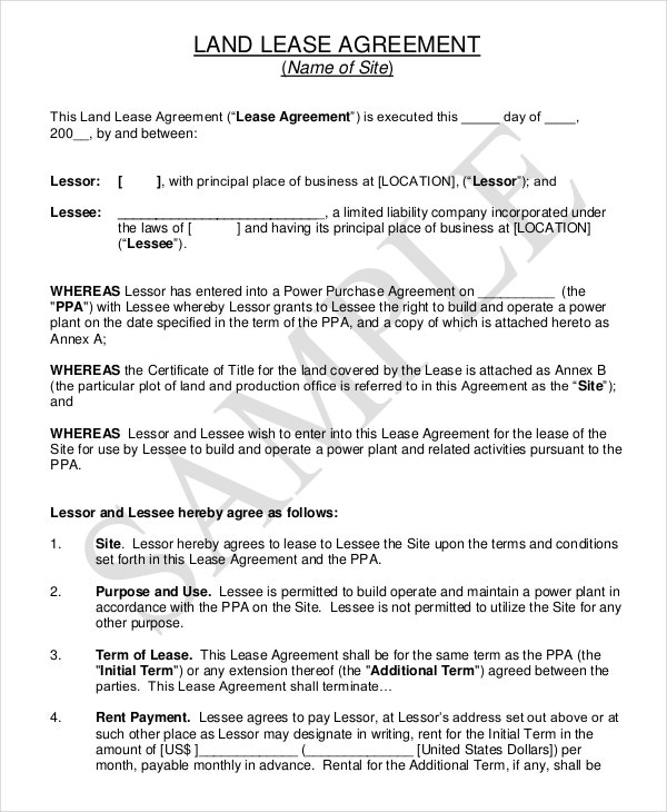 land lease agreement pdf free download1