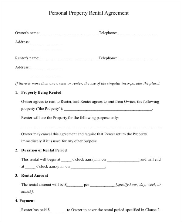 Personal Property Rental Agrement PDF Free Download