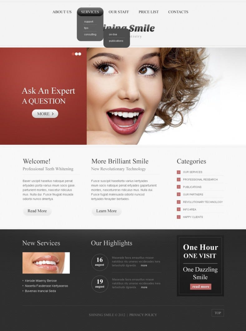 Dentist Theme with HTML 5, JQuery