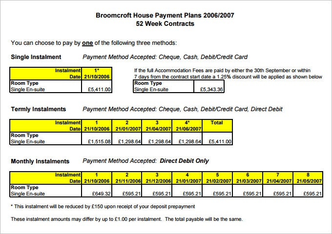 Payment Plan Templates   Free Word Pdf Documents Download