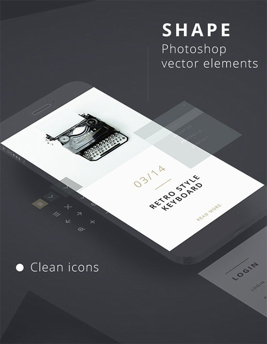 55 free ui elements kit download