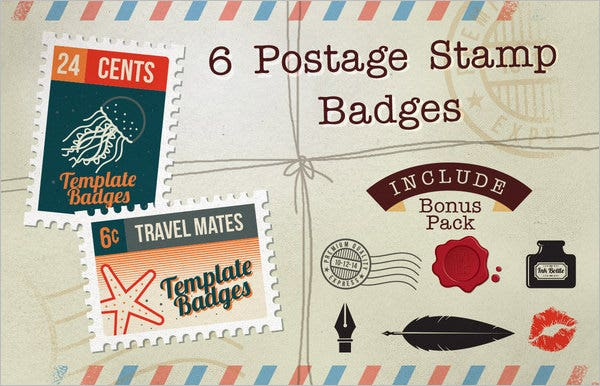 6 postage stamp badges bonus