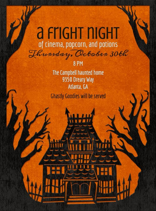 a frite night holloween invitation template