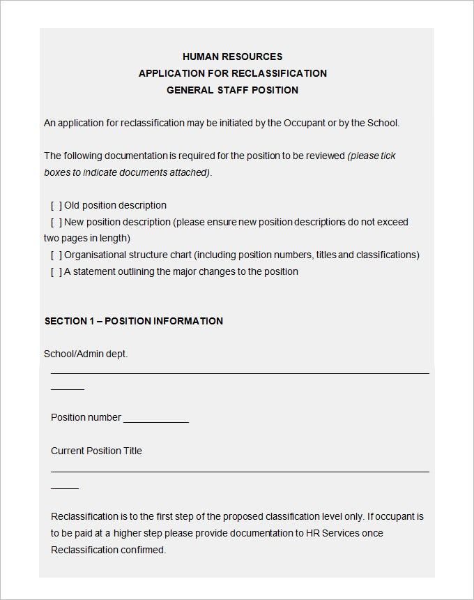application for reclassification