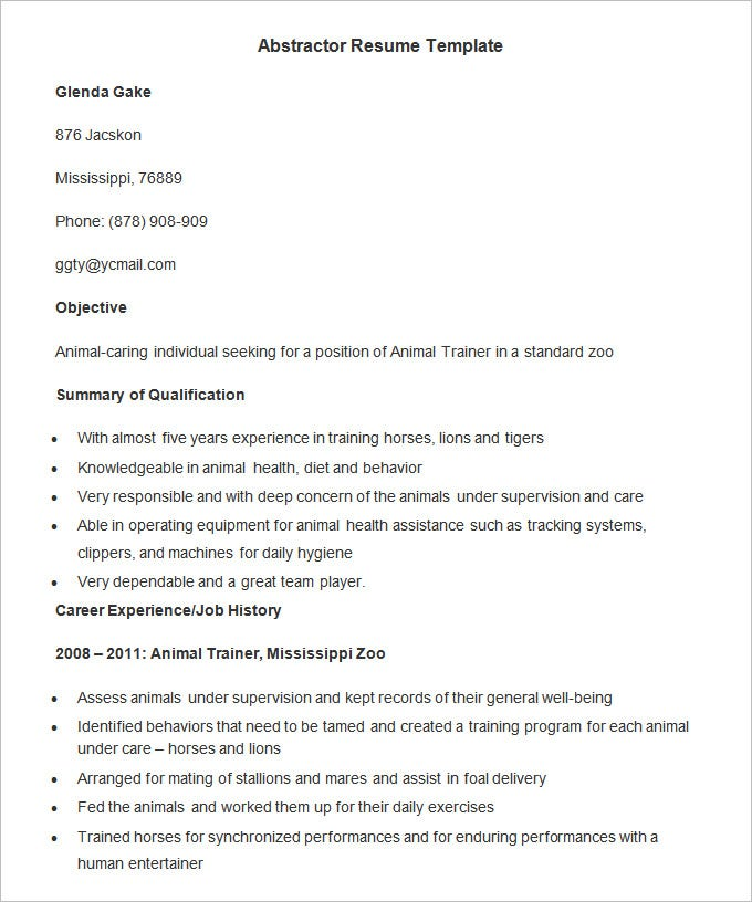 abstractor resume template2