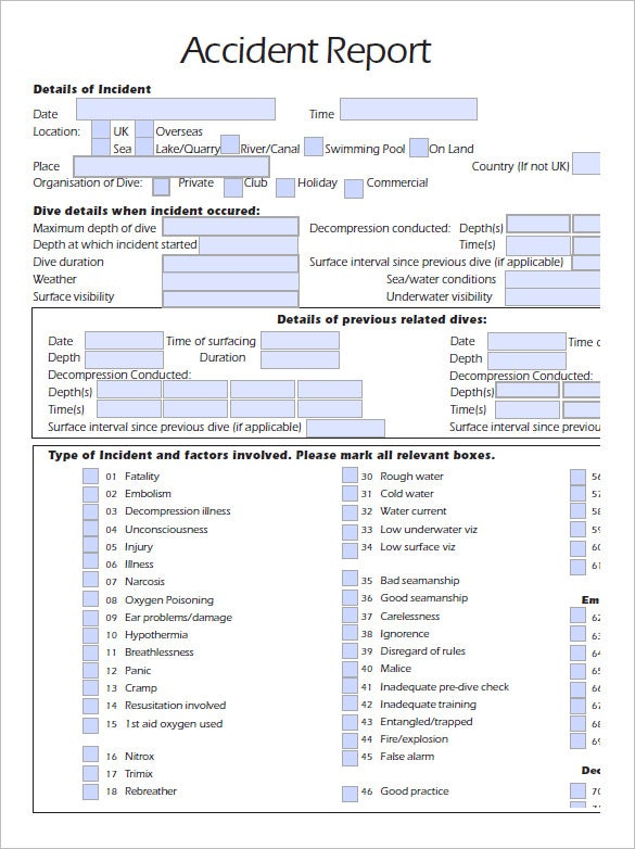 vehicle accident investigation form template - accident report template 10 free word pdf documents