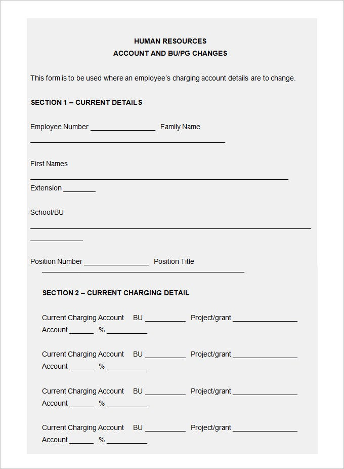 15 Sample HR Agreement Templates – Account Form Template