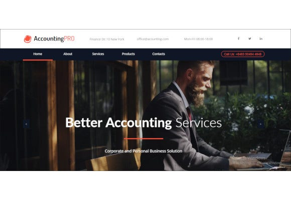 accounting services responsive muse template