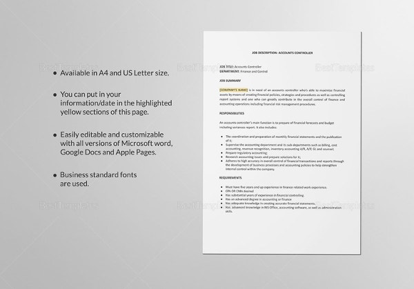 accounts-controller-job-description-template