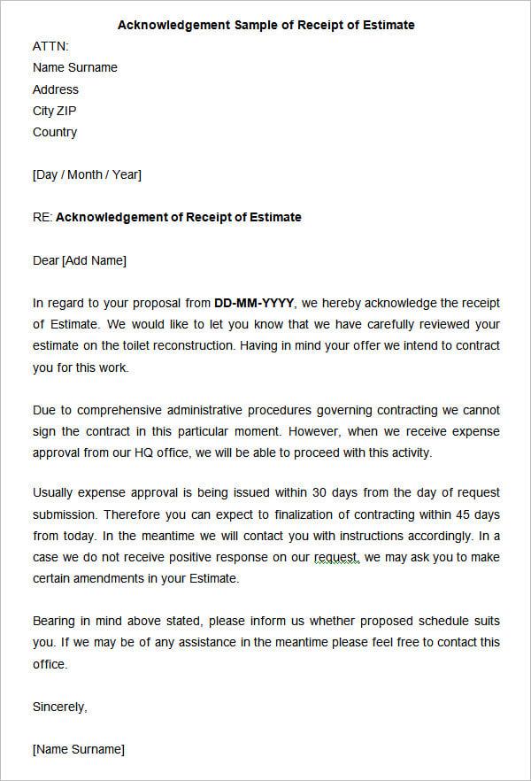 Acknowledgement letter Sample for Receipt of Resume