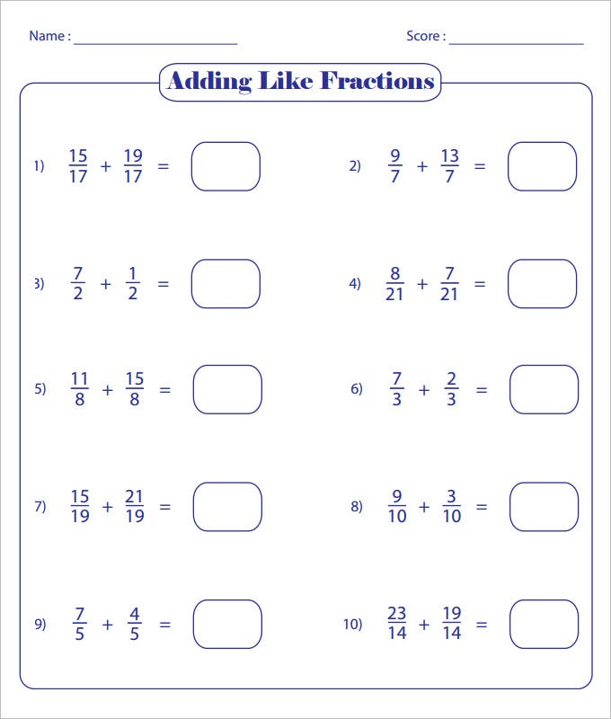 Printable Worksheets unlike fractions worksheets : 23 Sample Adding Fractions Worksheet Templates | Free PDF, Word ...