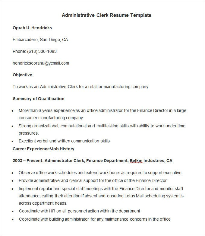 sample resume for administrative officer