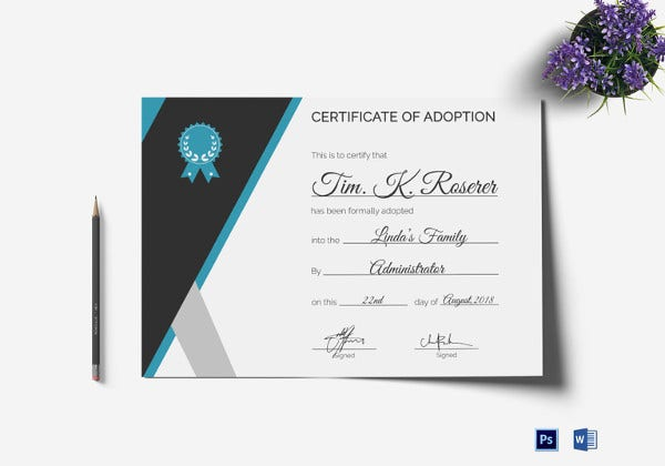 adoption certificate psd template