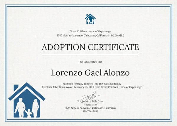 Adoption Certificate Template 12 Free Pdf Psd Format Download