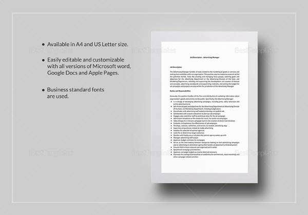 advertising manager job description template in google docs