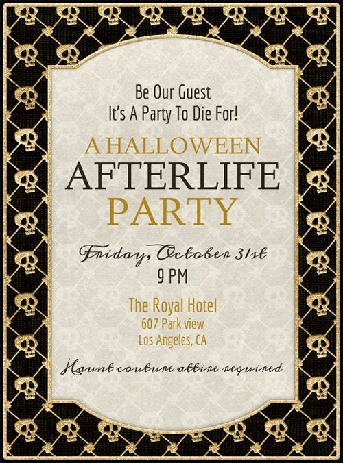 afterlife party halloween invitation template