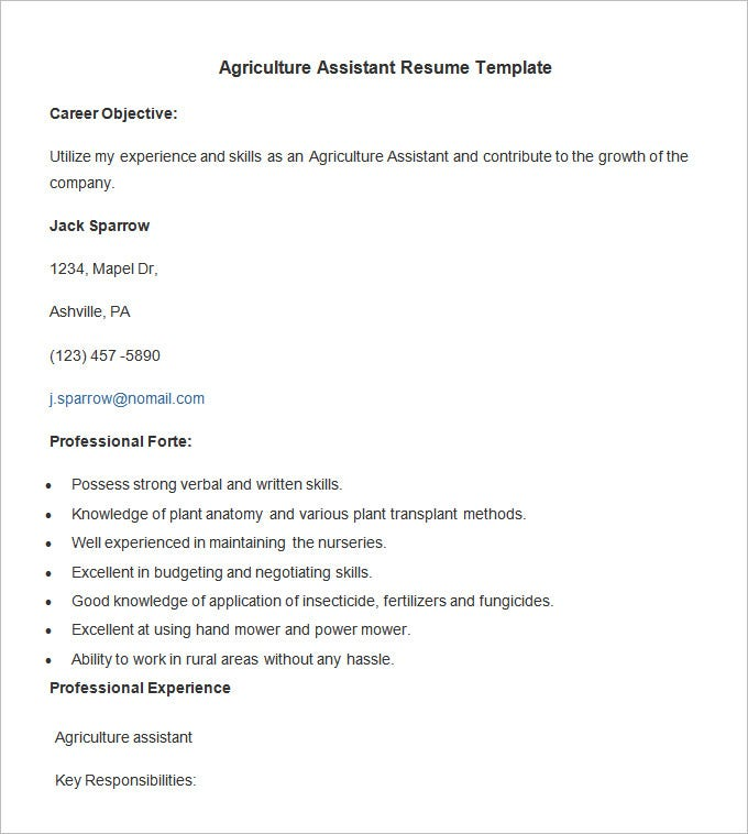 agriculture assistant resume template