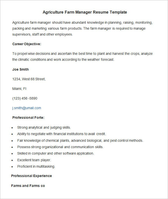 Agriculture Farm Manager Resume Template. Free Download