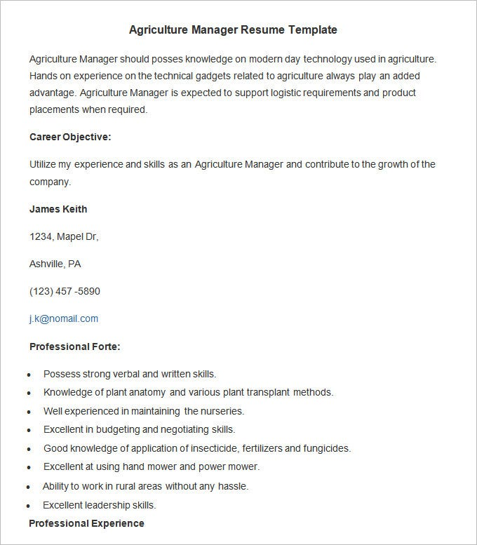 agriculture manager resume template