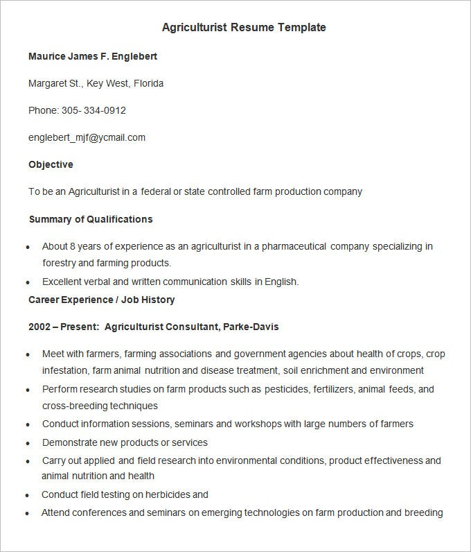 agriculture resume template 24 free samples examples format