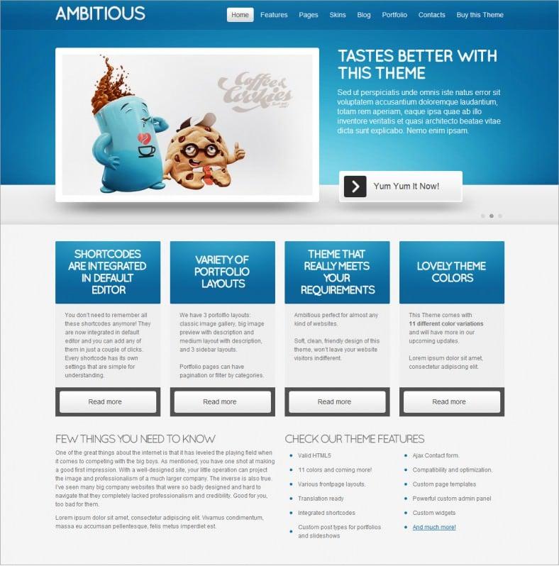 ambitious blue responsive wordpress theme 788x798