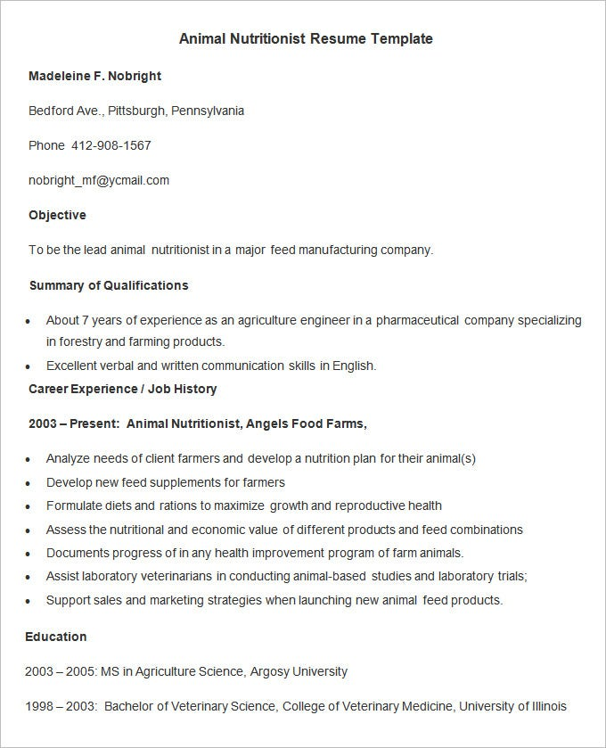 animal nutritionist resume template