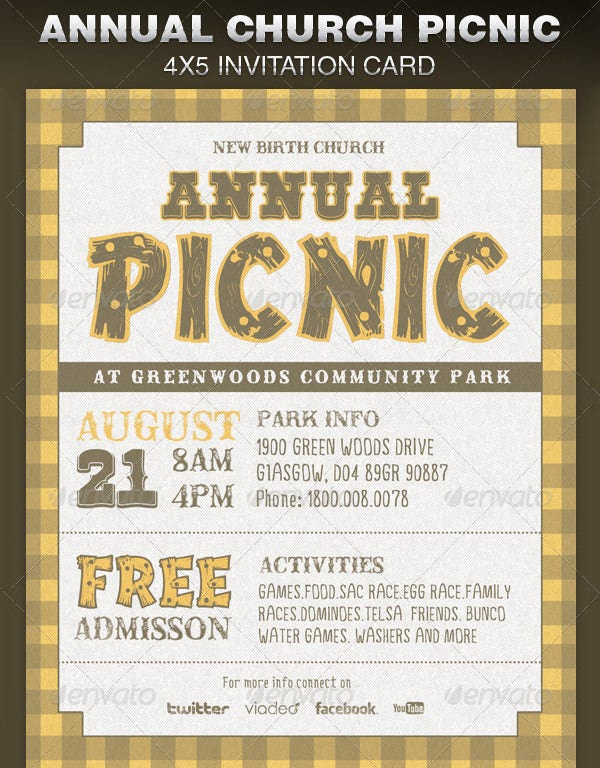 annual church picnic party invite card template