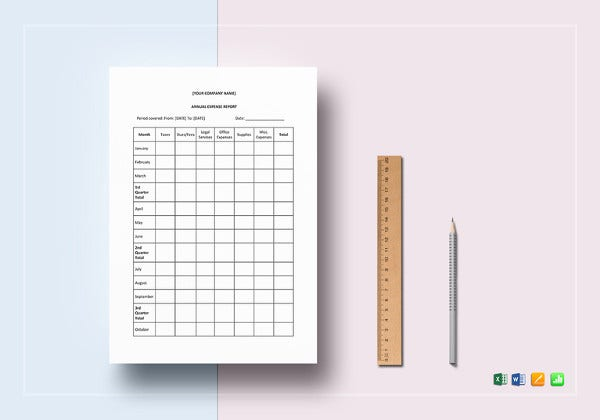 annual expense report word template