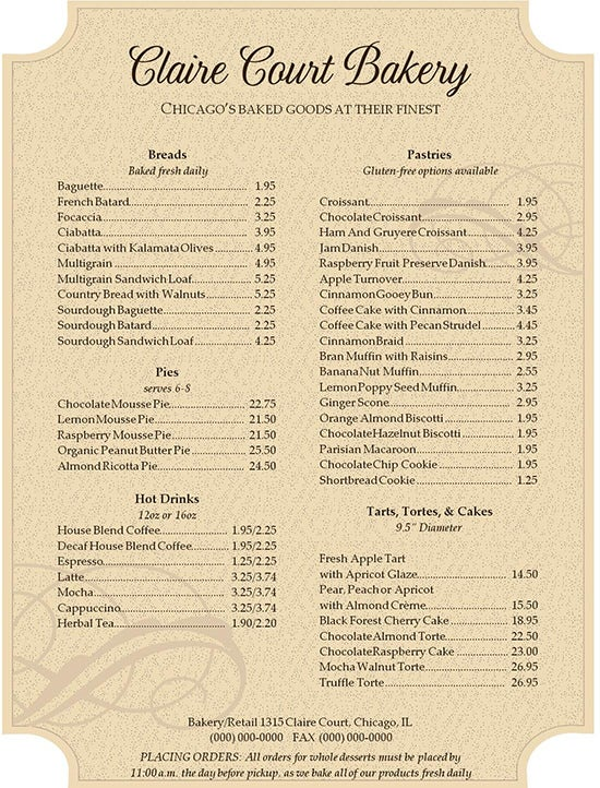 Bakery Menu Template – 30+ Free Word, PSD, PDF, EPS, InDesign ...