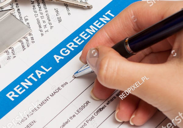 apartment rental agreement template vector