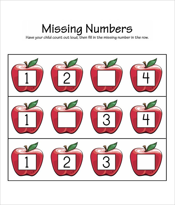 apple missing numbers worksheet template